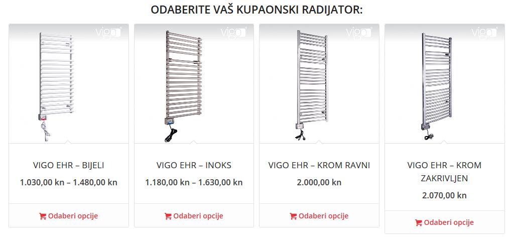 Kupaonski radijatori VIGO EHR